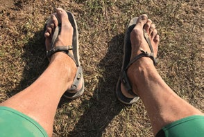 Running in sandals - bad idea, but great pedicure