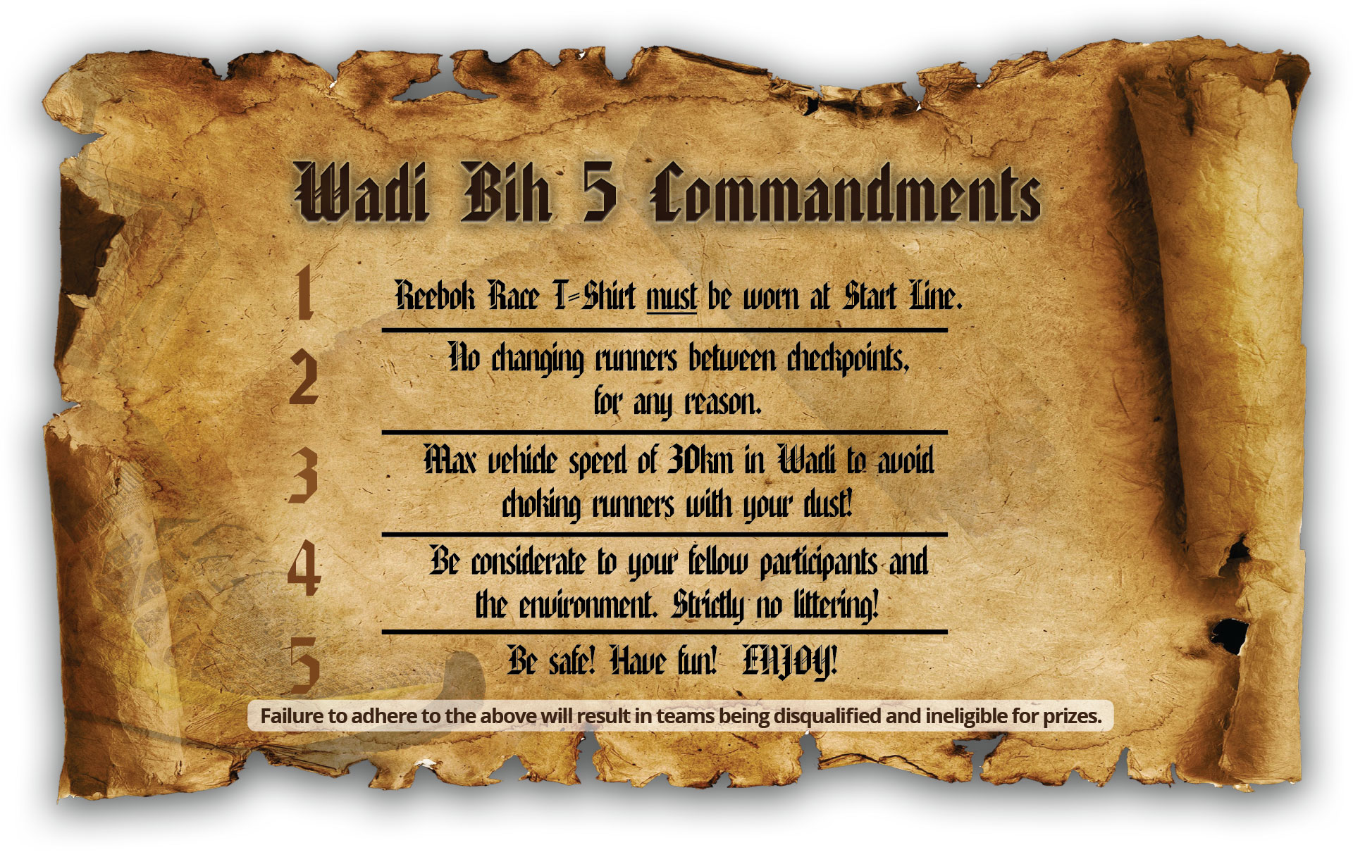 5 commandment of wadih bih run
